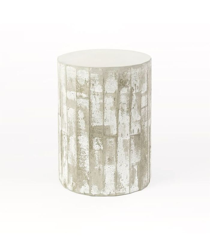 Sculpted Concrete Drum Side Table