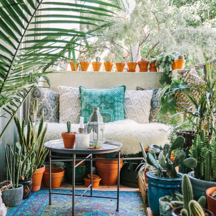 An outdoor space with a blue printed rug and several potted plants