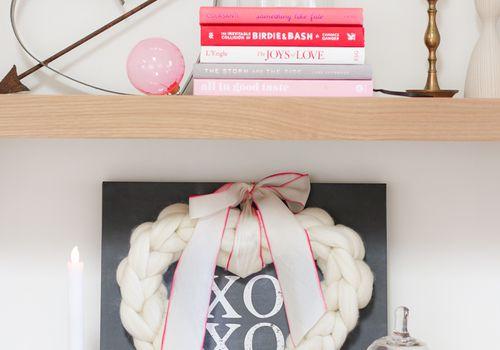 Valentine's decor on shelves.