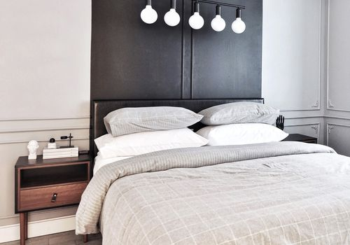 bedroom with black headboard - best bedroom ideas
