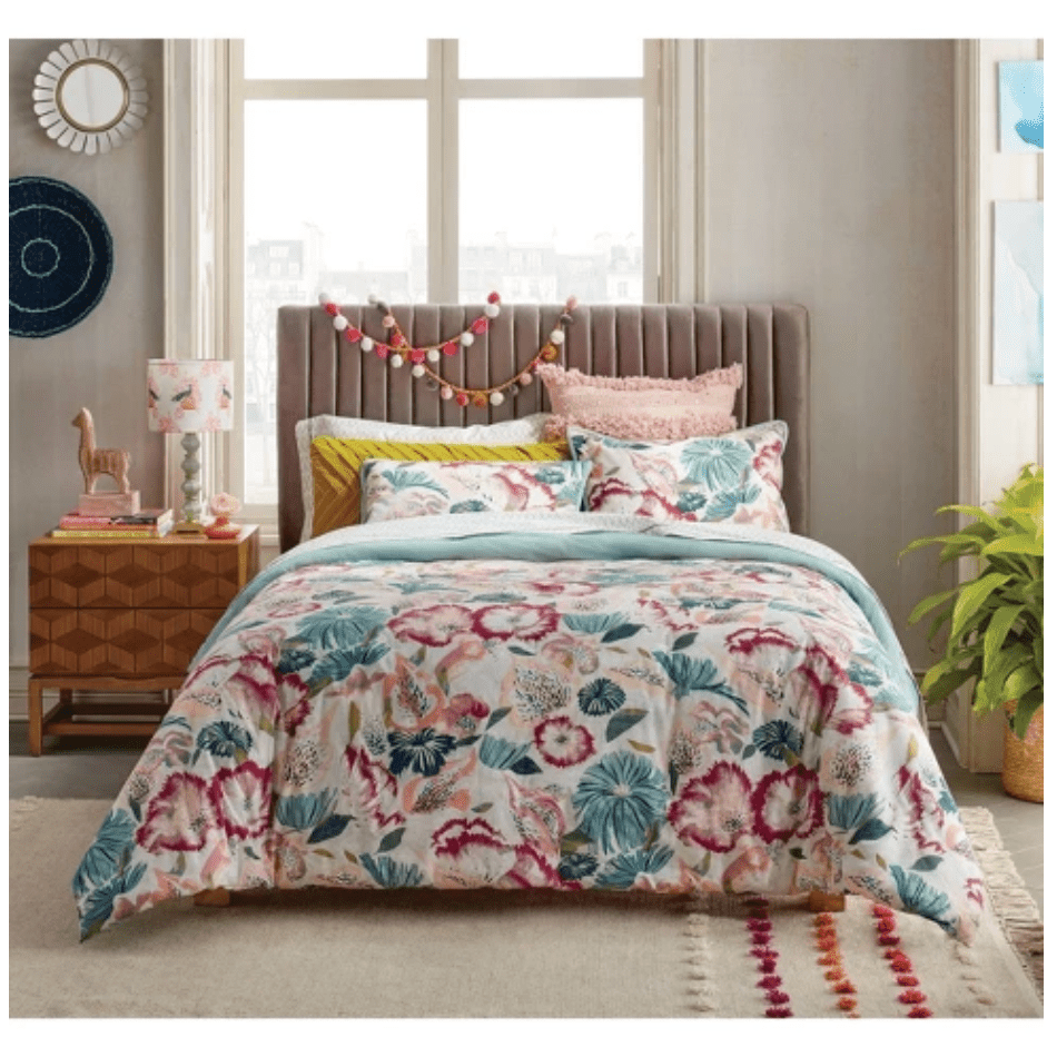 Opalhouse floral-printed bedding and decor in bedroom.