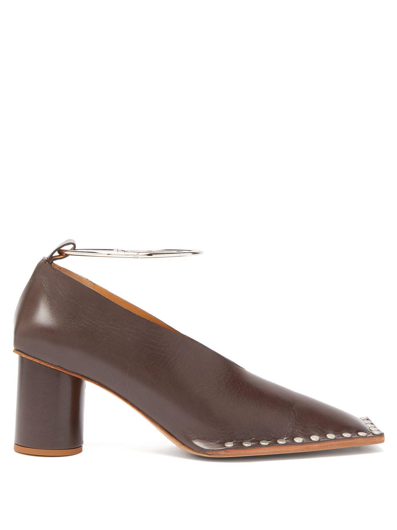 Jil Sander Studded square-toe leather pumps