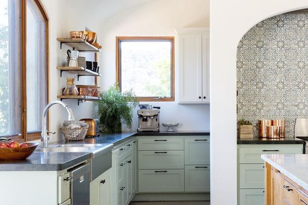 California kitchen with mint green lower cabinets