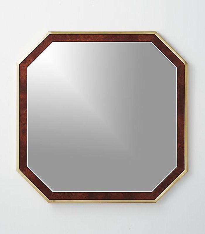 CB2 Wyatt Wood and Brass Mirror 32