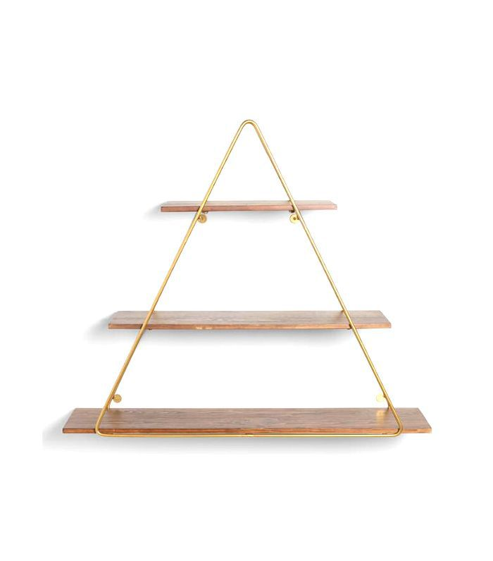 Wood and Gold Triangle Wall Shelf by World Market