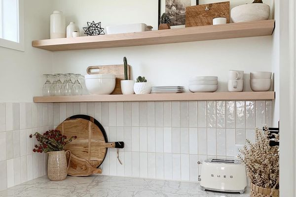 Marble and wood pantry