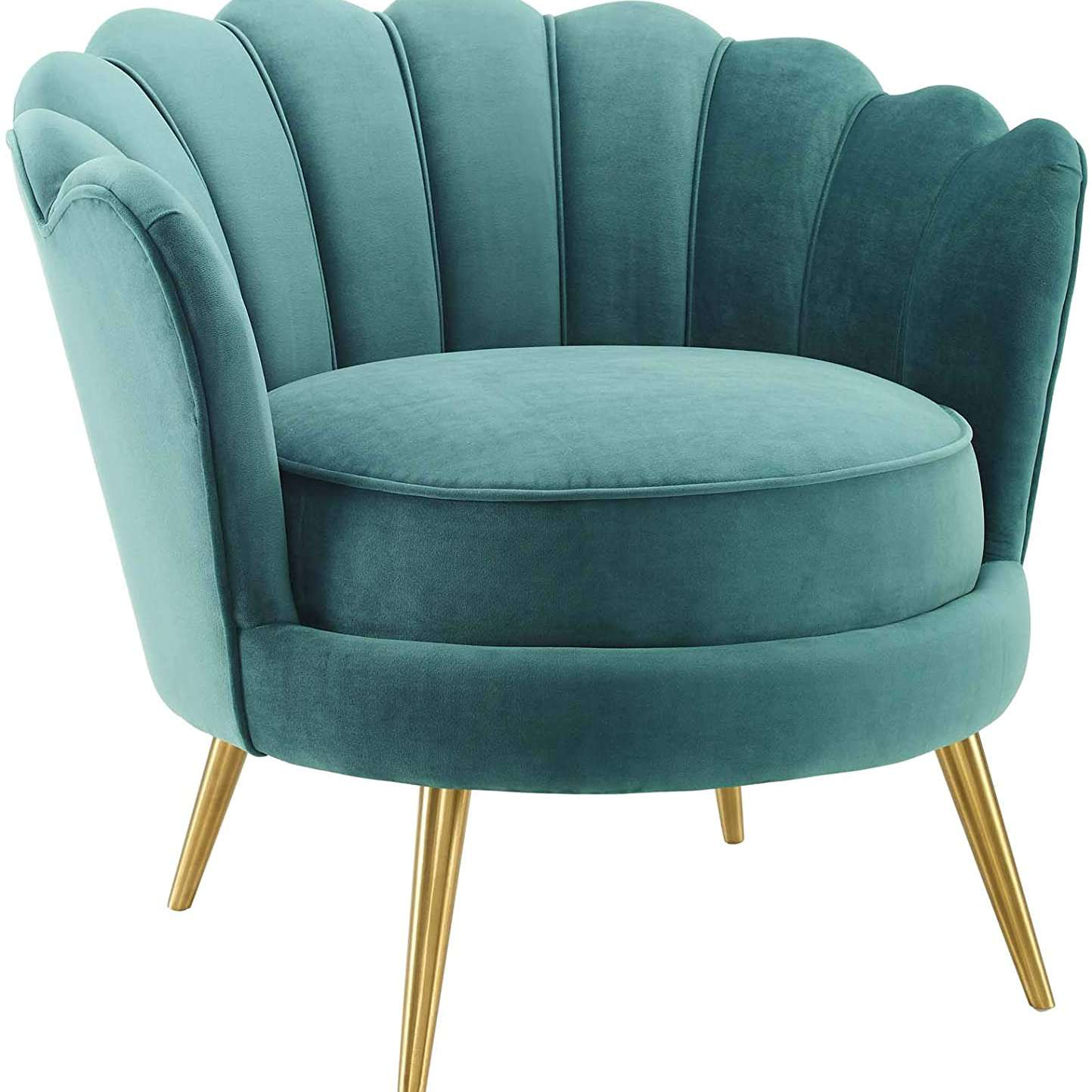 Turquoise scalloped chair.