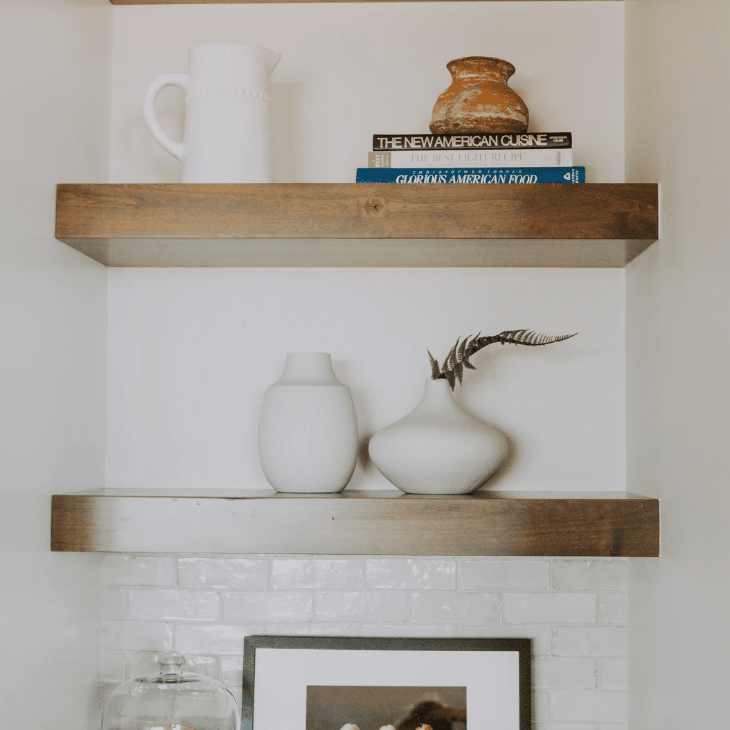 Exposed shelving with vignettes