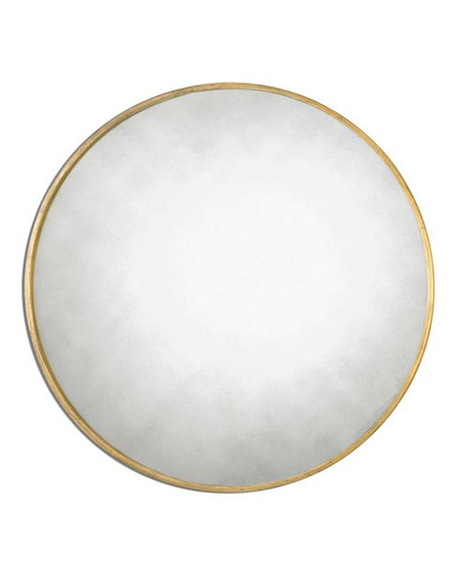 round mirror with gold frame
