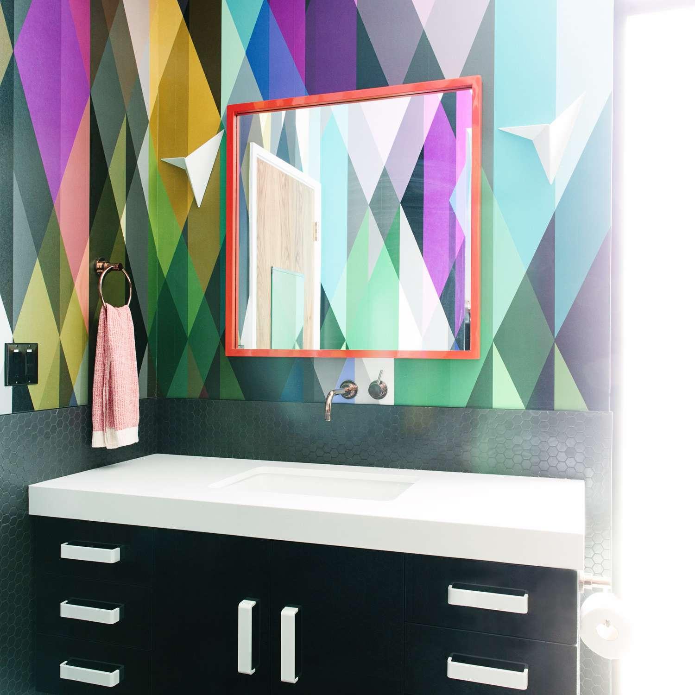 maximalist bathroom with colorful walls