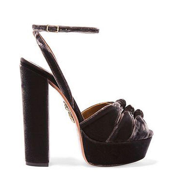 Mira Plateau Velvet Platform Sandals
