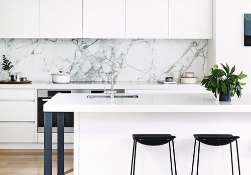 a minimalist, all-white kitchen