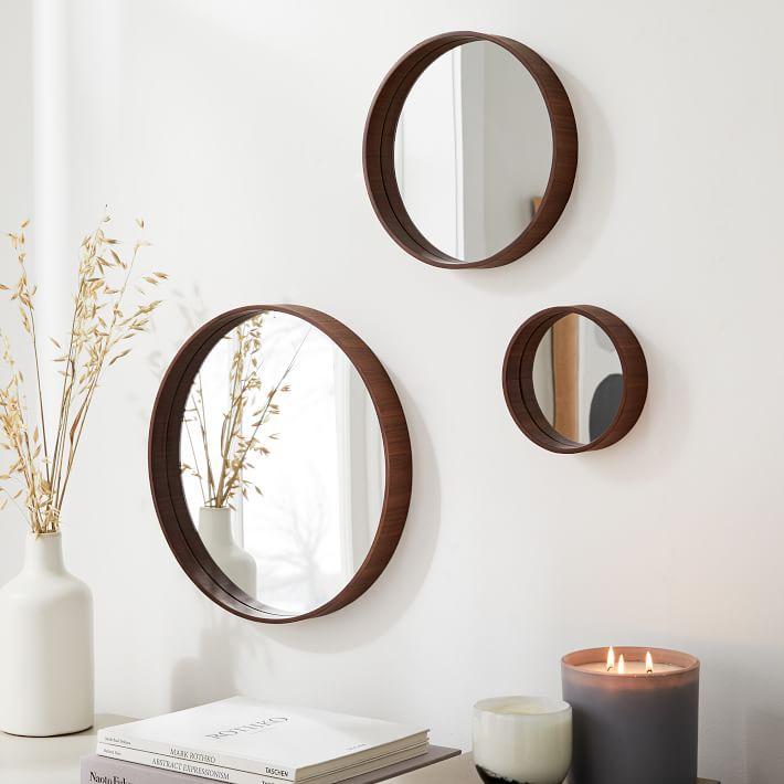 Maren Wood Mirrors, Walnut, Set of 3