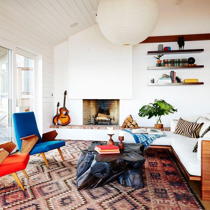 Mid Century Modern Genuine Leather Sofa Art Deco