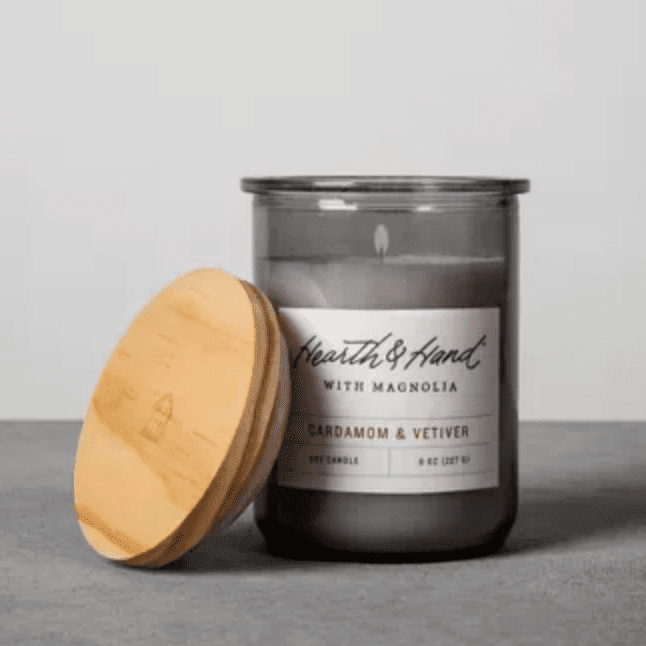 Cardamom and vetiver scented candle in a lidded jar