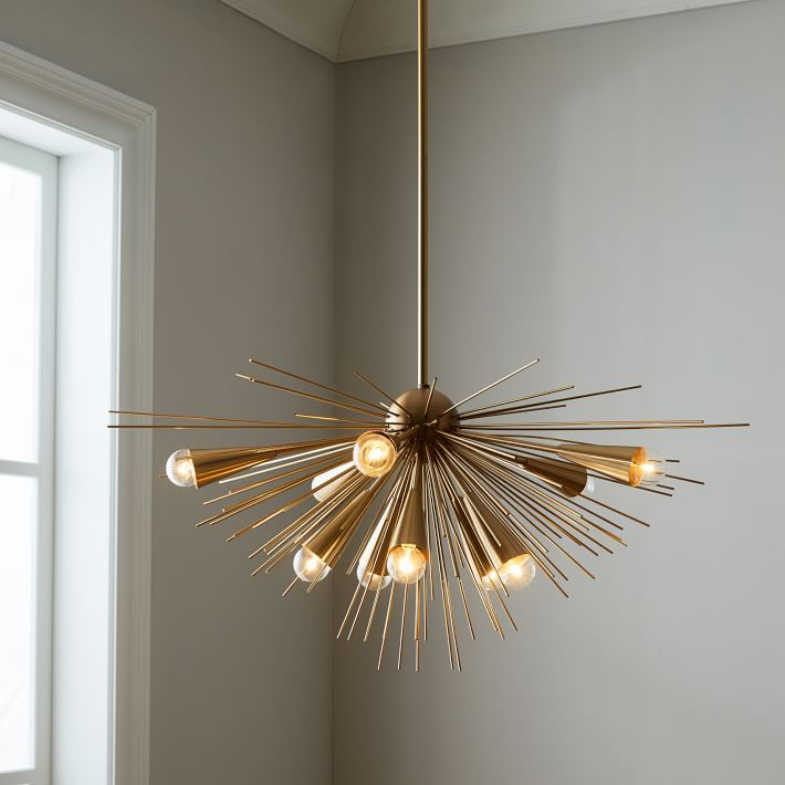 West Elm's brass, midcentury-style Sputnik chandelier.
