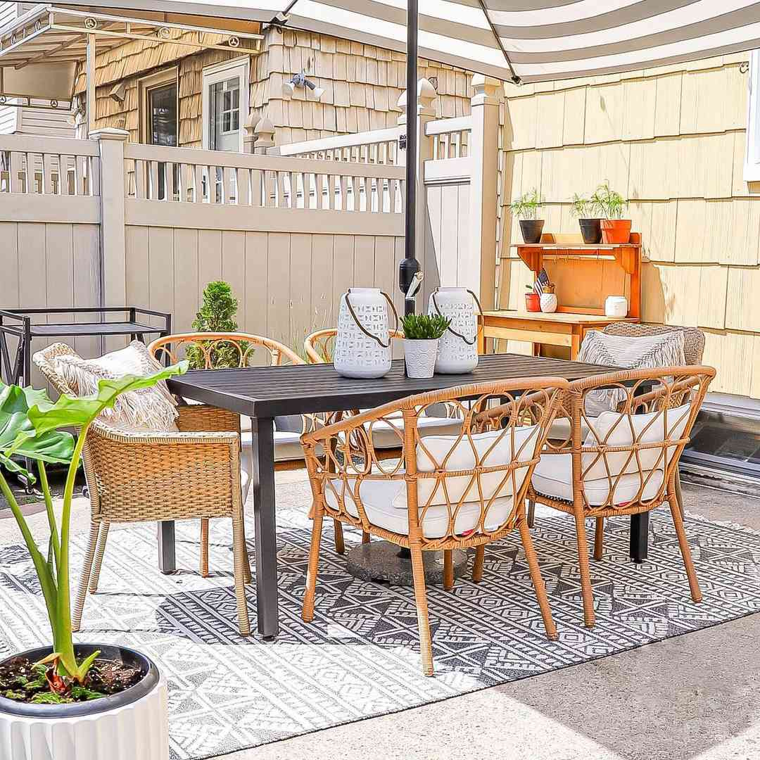 Patio with a table and chairs
