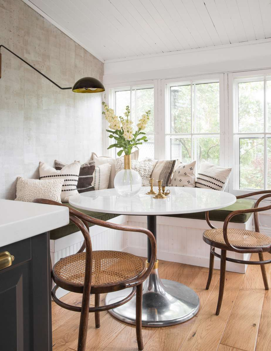 Dining nook with rustic touches