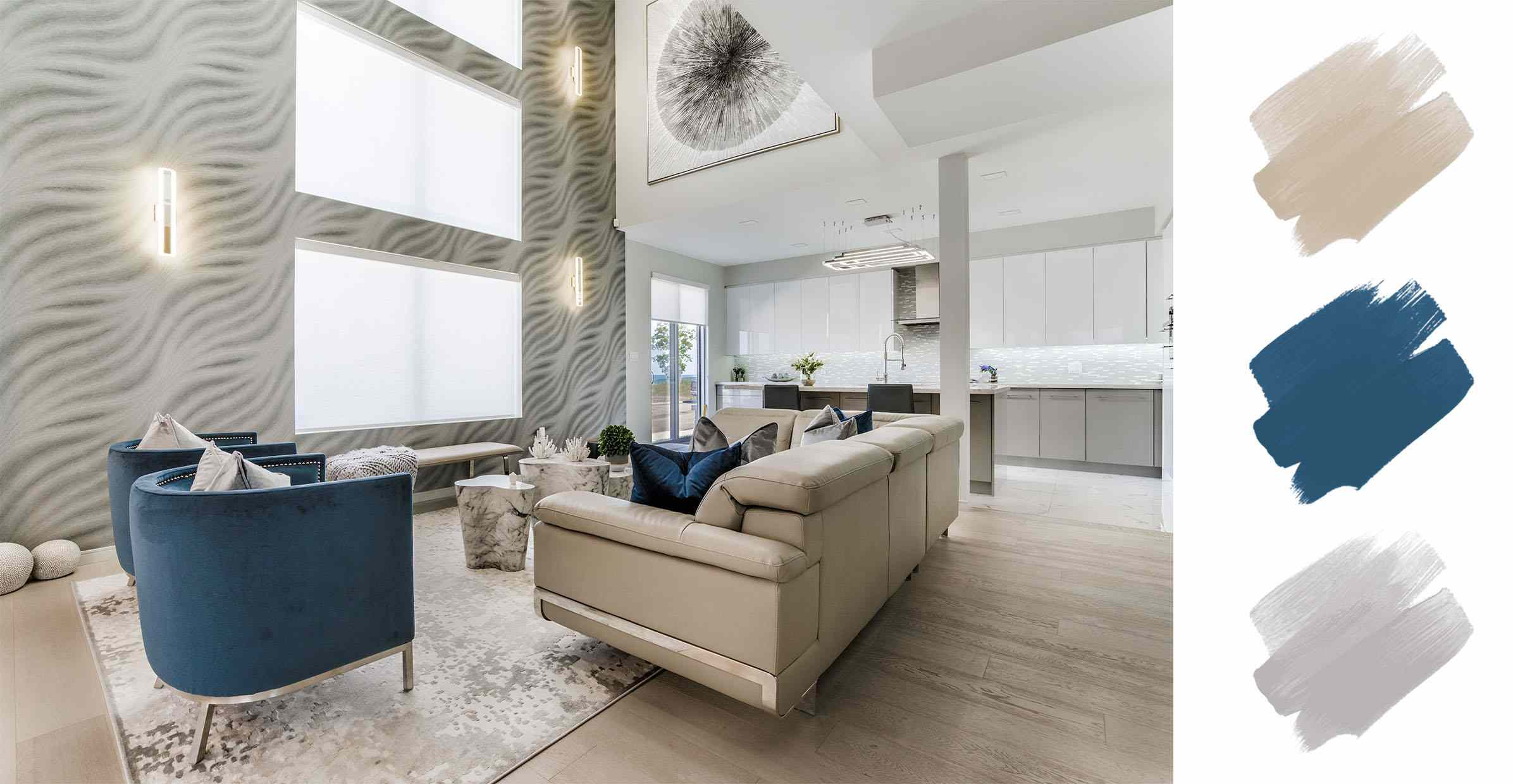 best interior color schemes - blue and tan and gray