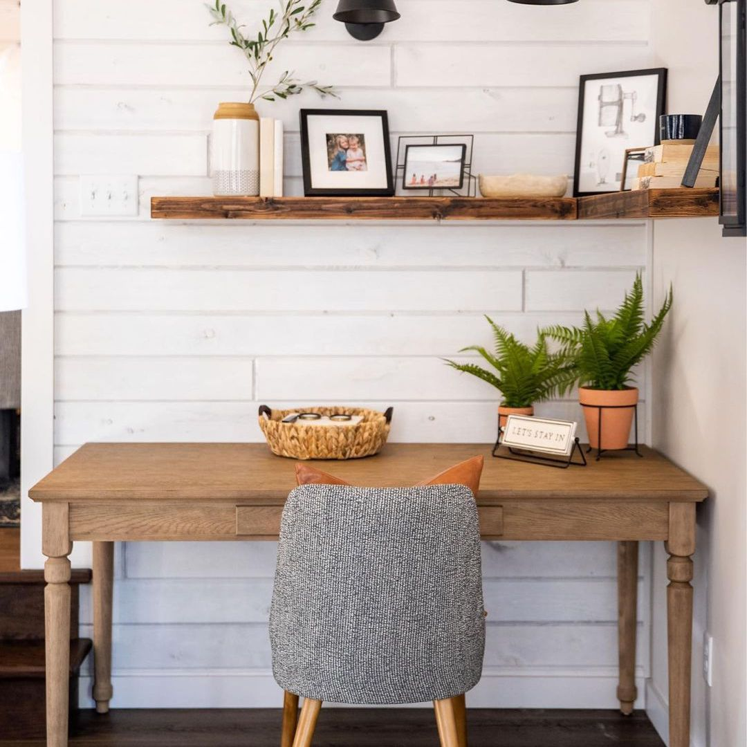Small desk space with shiplap