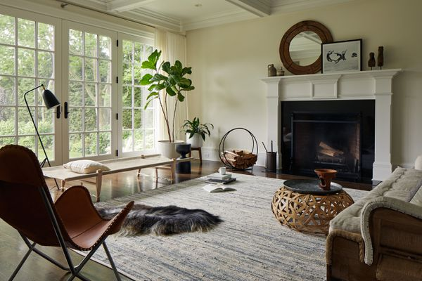 how to mix wood tones - living room with light, medium and dark wood tones
