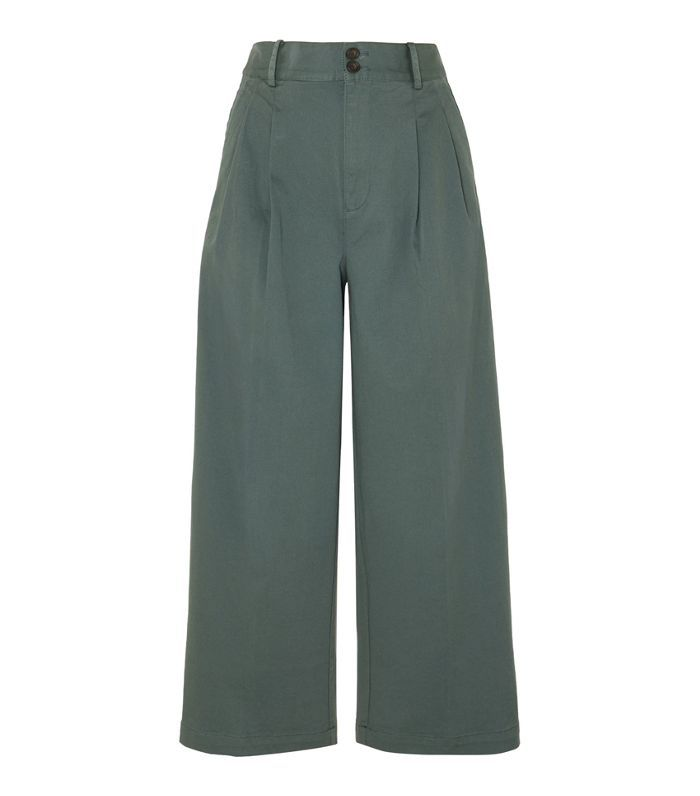 Pleated Cotton-blend Twill Wide-leg Pants