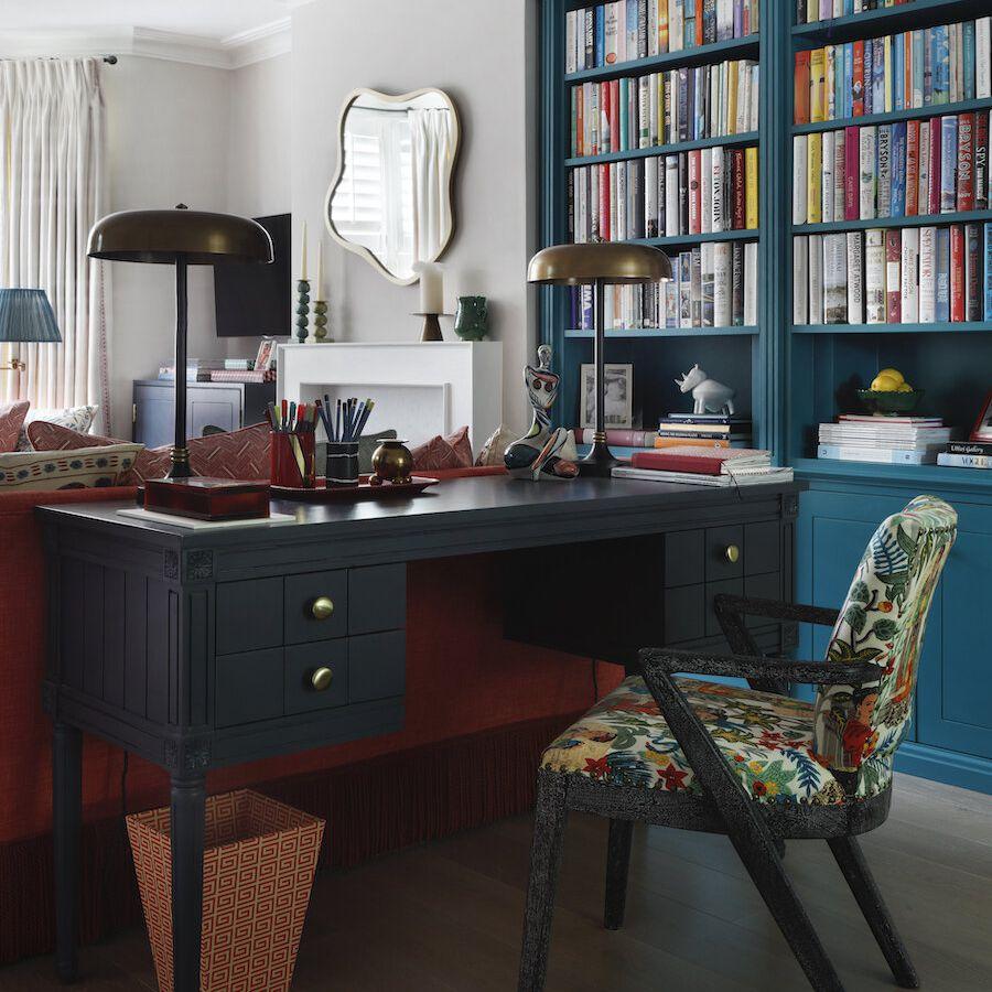 Living room with blue bookshelves