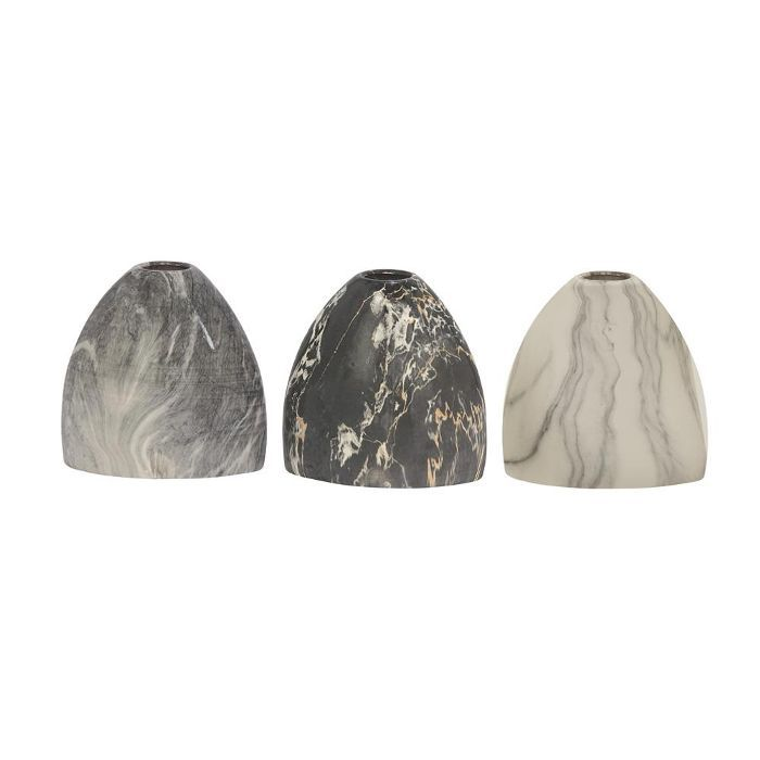 Litton Lane Gray Ceramic Decorative Vase, Set of 3