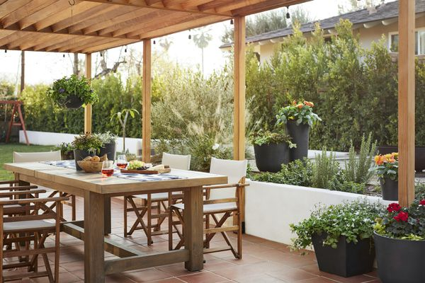 Outdoor patio filled with Bloomscape plants.
