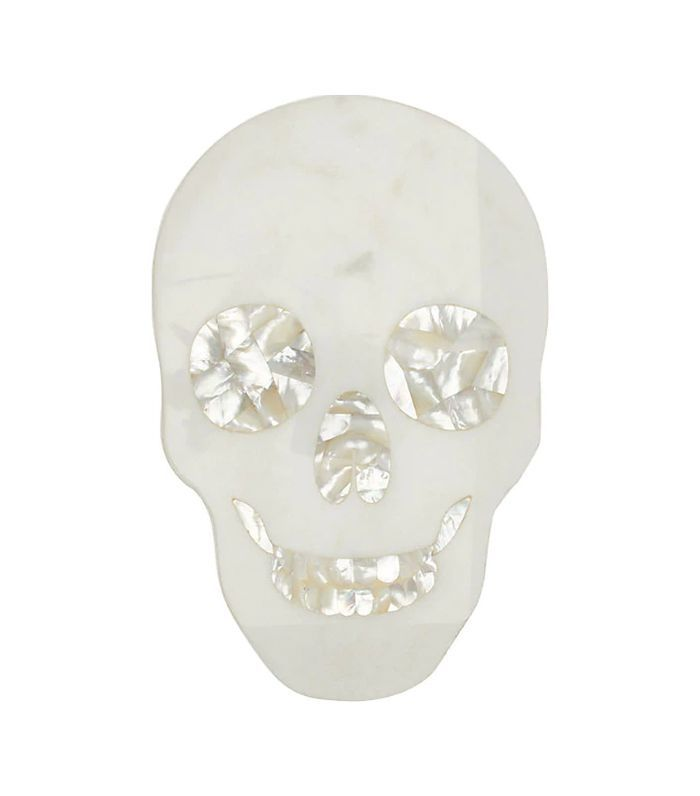 Skull Marble Cheese Board-White