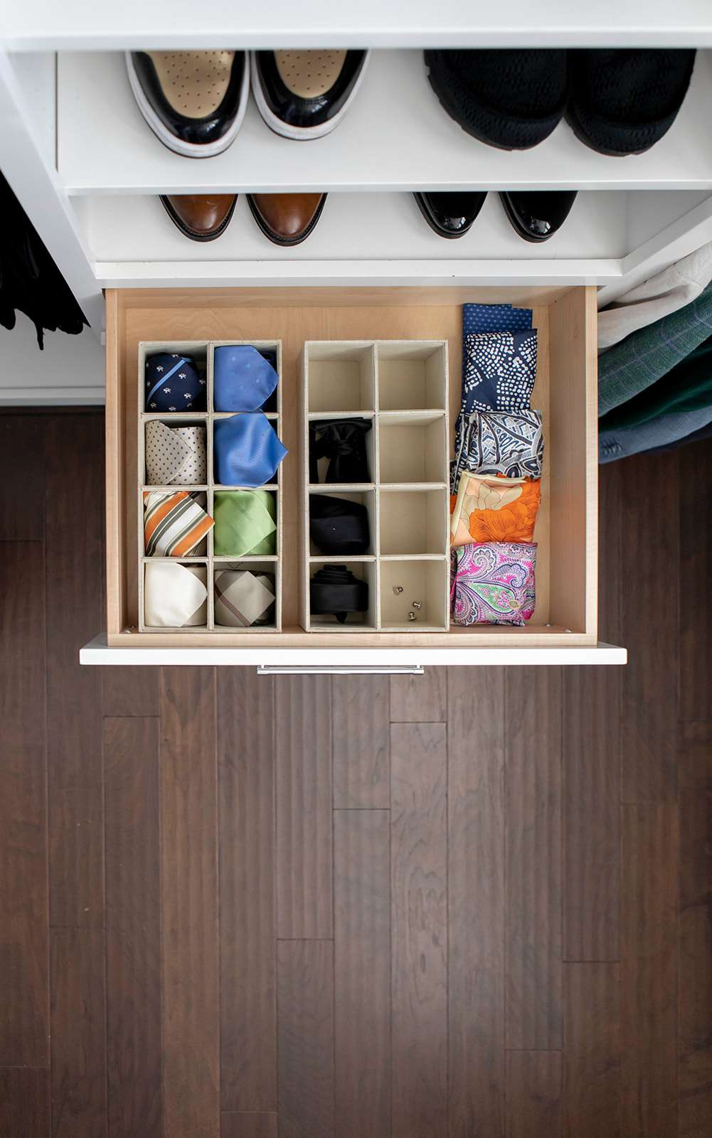 Closet drawer with organized divider