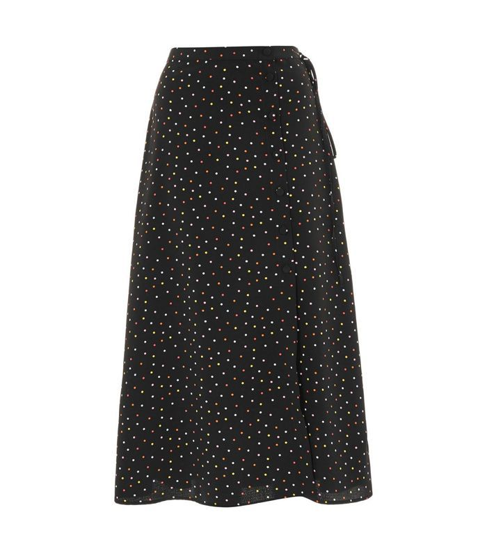Multi Spotted Button Midi Skirt