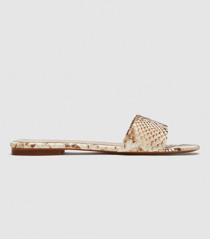 Zara Snakeskin Print Leather Slides