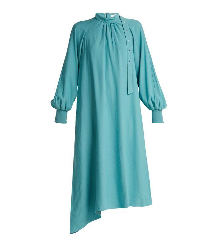 - High Neck Asymmetric Twill Dress - Womens - Blue