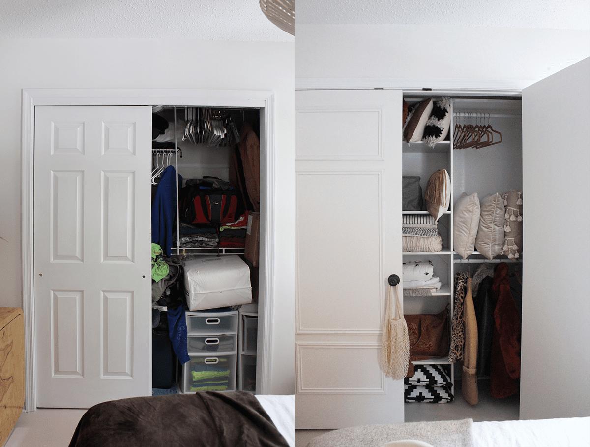 A closet makeover involving a door replacement
