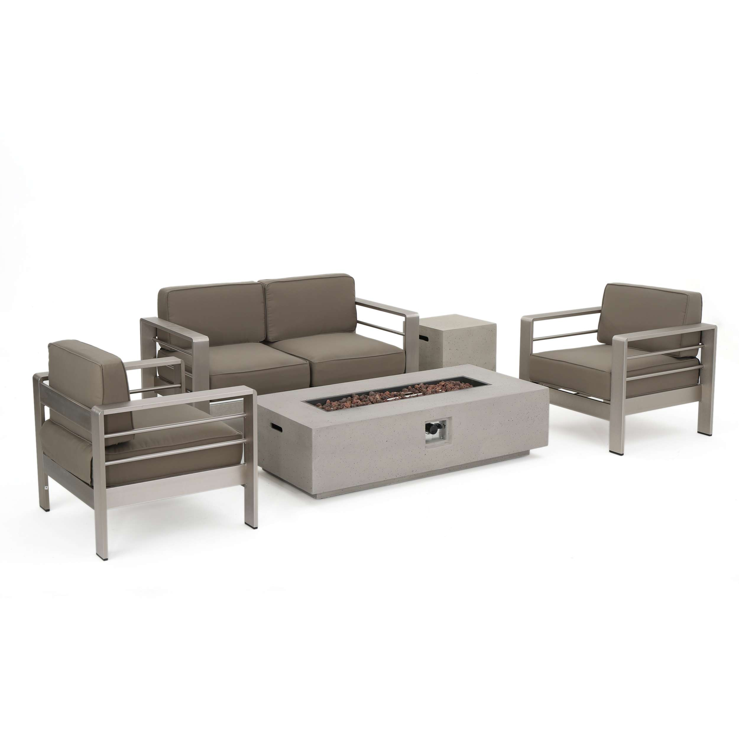 GDF Studio Coral Bay Outdoor 5-Piece Chat Set with Fire Table
