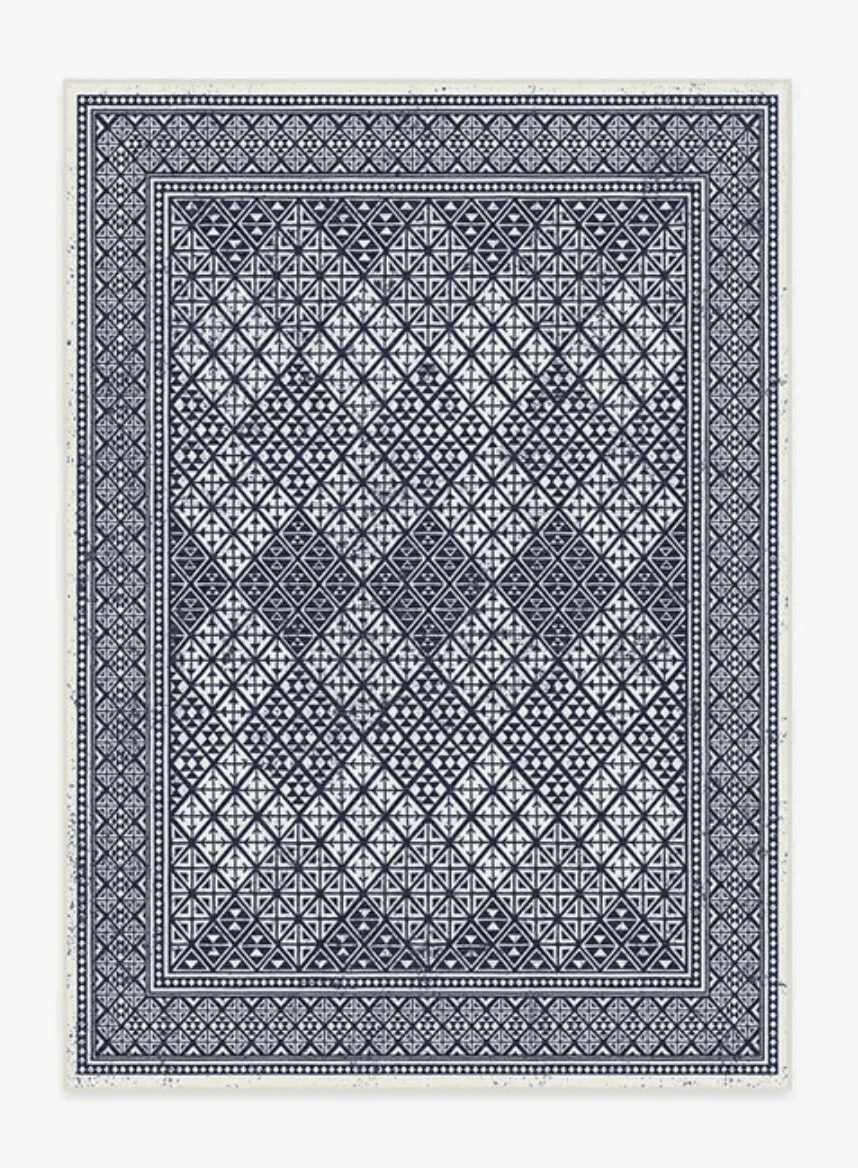 A blue printed outdoor rug, currently for sale at Ruggable