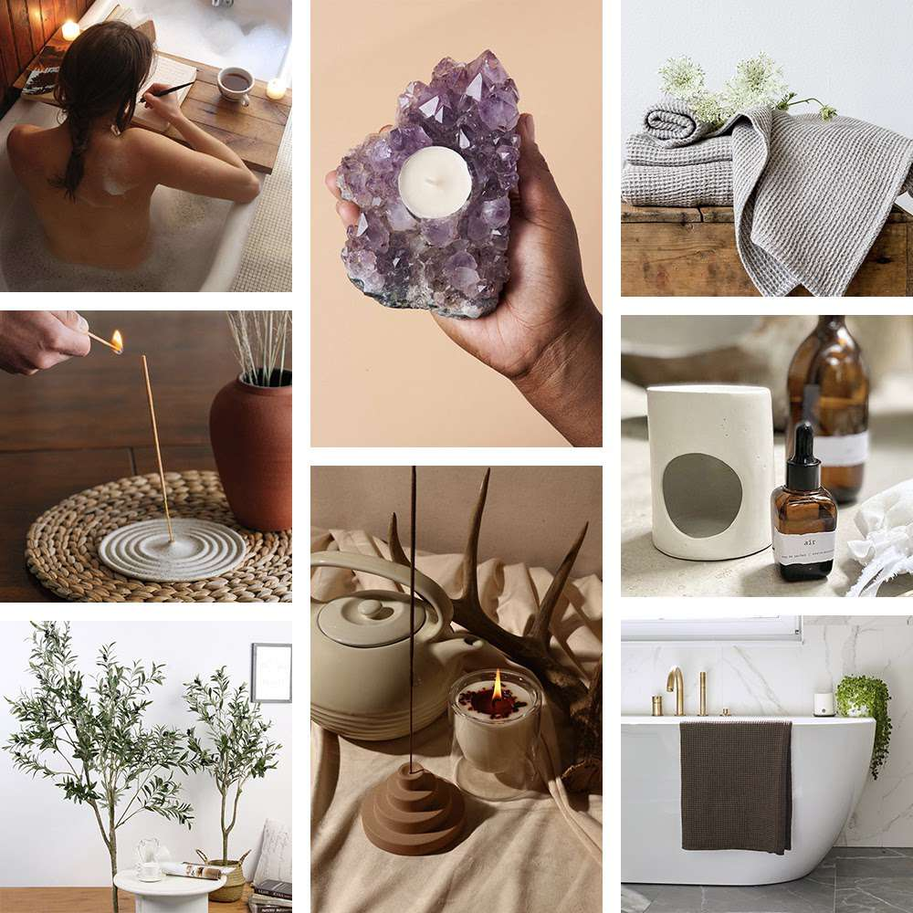 Relaxing decor collage.