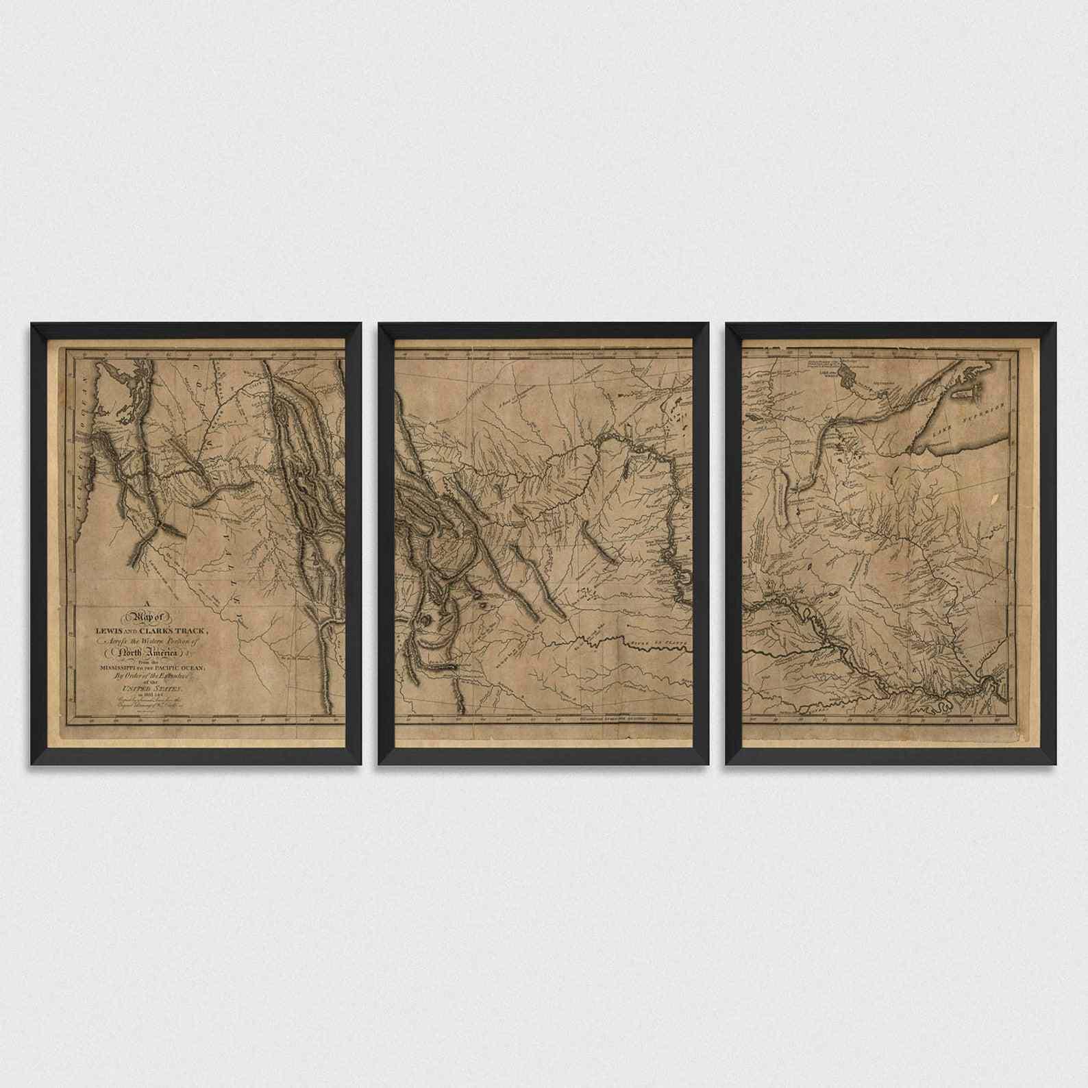 vintage map triptych