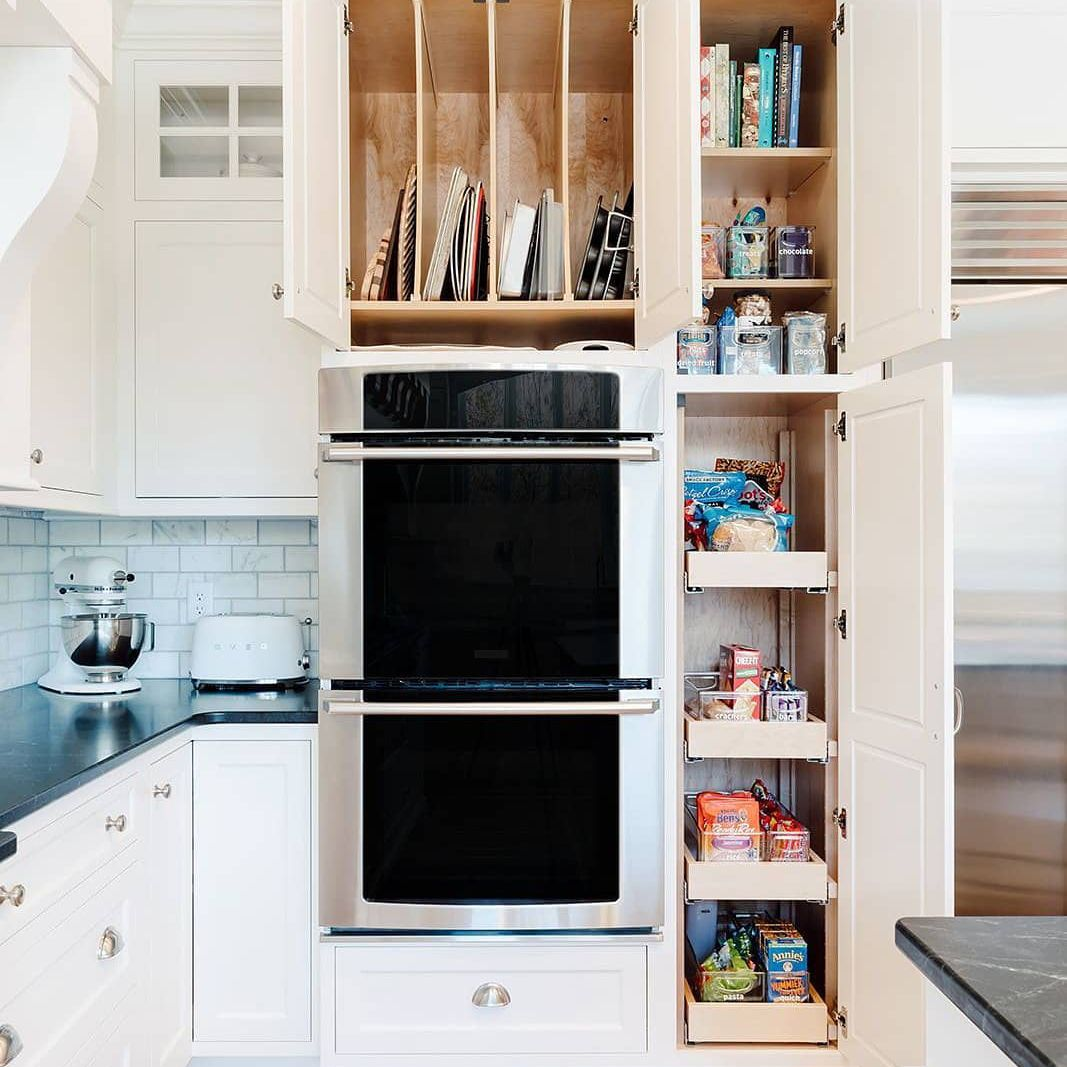 Open cabinets in a kitchen