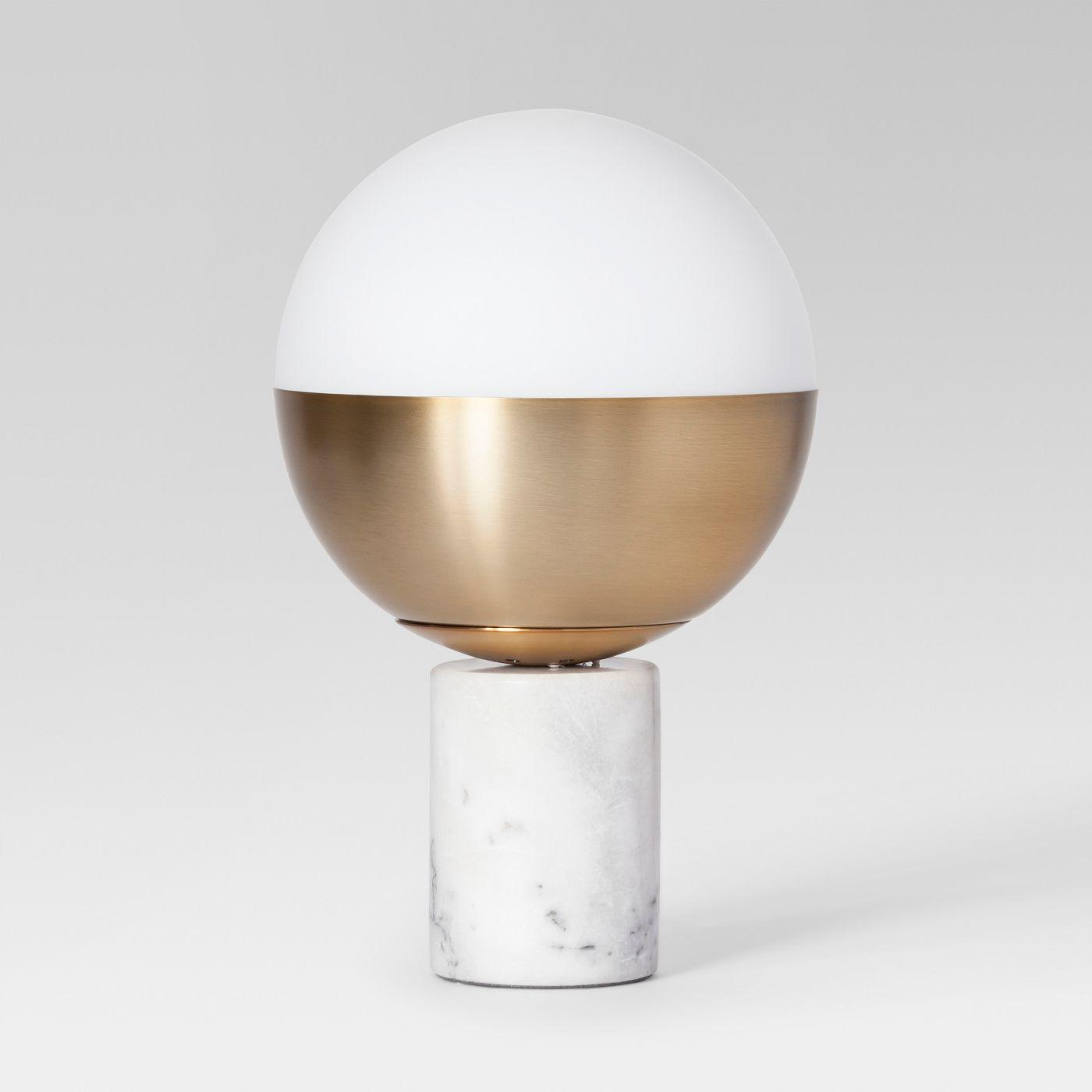 Geneva Glass Globe Accent Lamp in Brass