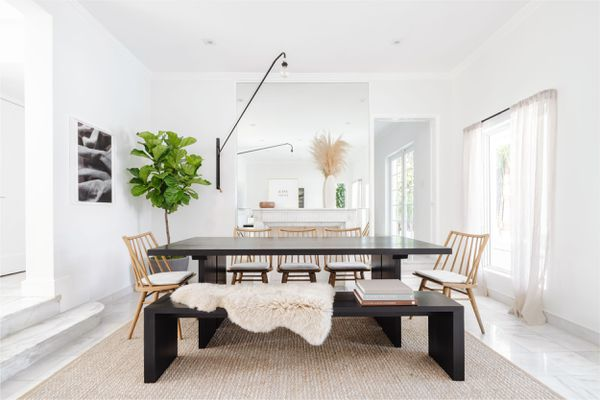white dining room with black accents