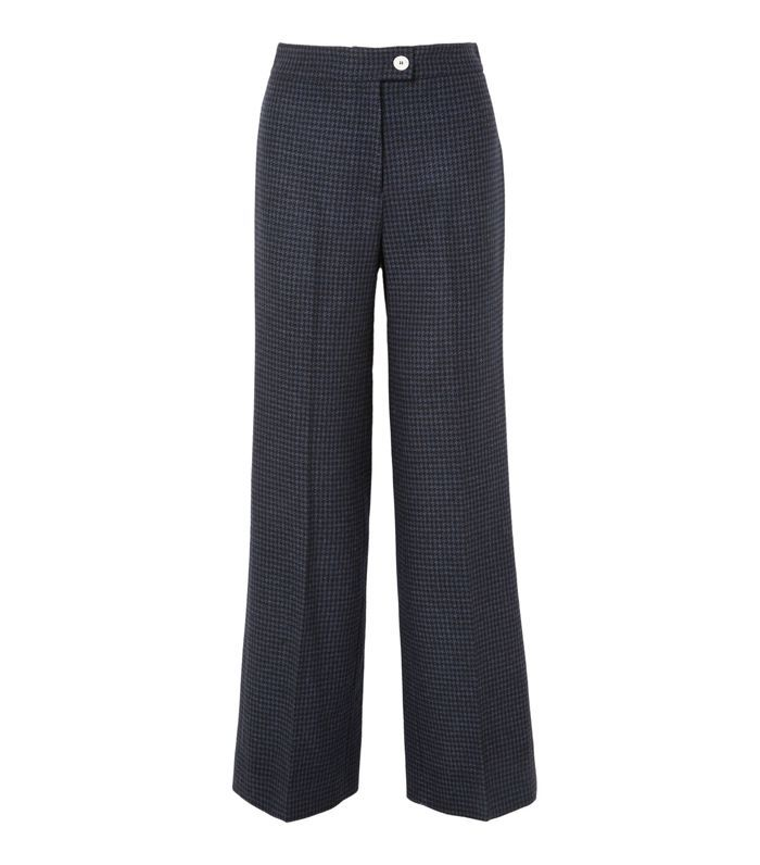 Houndstooth Wool-blend Felt Wide-leg Pants