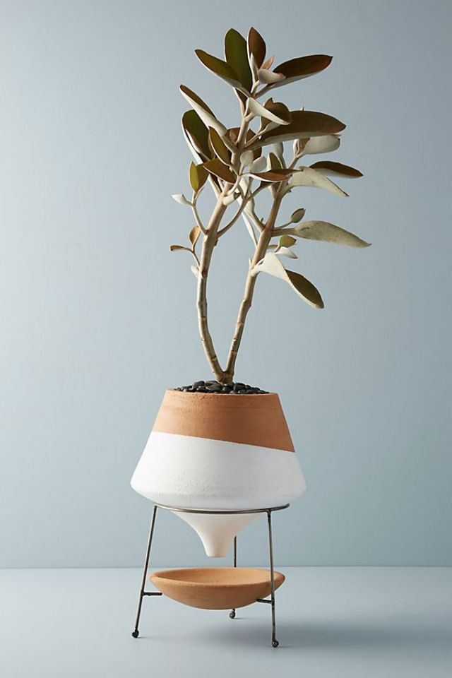 Dipped Clay Pot and Stand