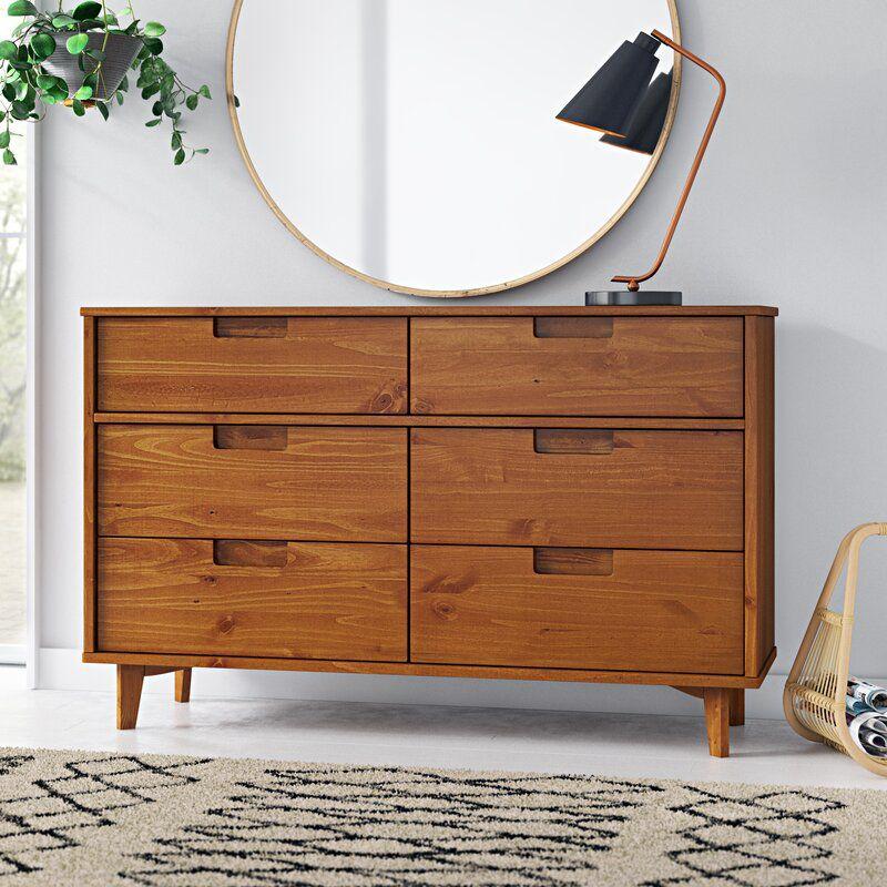 AllModern Caramel Stephenson Groove 6 Drawer Double Dresser
