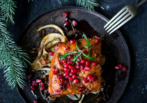 Roasted salmon with pomegranate