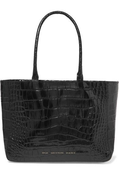 Chylak Glossed Croc-Effect Leather Tote