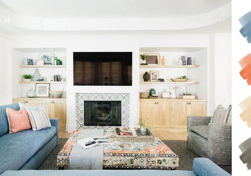 living room color schemes - denim + terra cotta + taupe