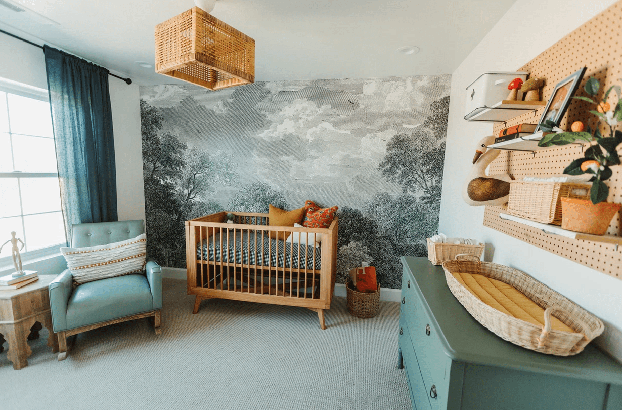 Bedroom with gray mural