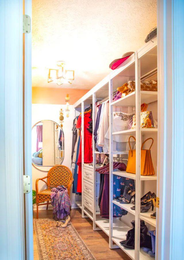 narrow walk-in closet